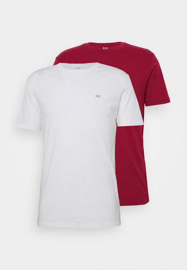 CREW 2 PACK - T-shirt basic - white/red