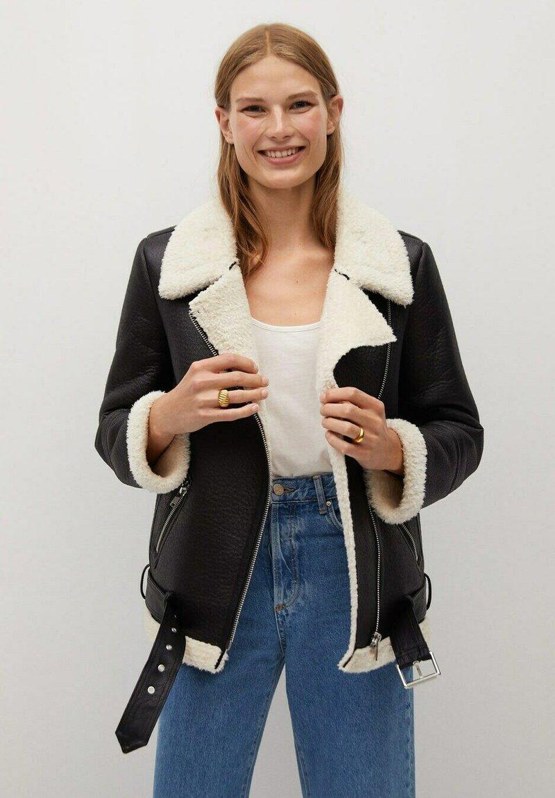 Mango - ADRI-I - Faux leather jacket - black