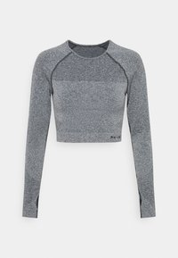 NU-IN - SEAMLESS TWO TONE LONG SLEEVE CROPPED - Long sleeved top - grey marl - 0