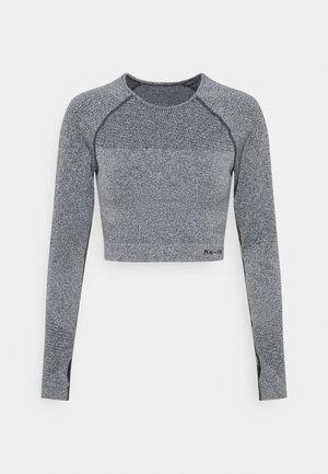 SEAMLESS TWO TONE LONG SLEEVE CROPPED - Bluzka z długim rękawem - grey marl