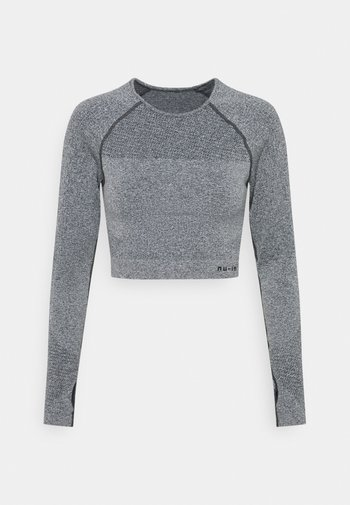 SEAMLESS TWO TONE LONG SLEEVE CROPPED