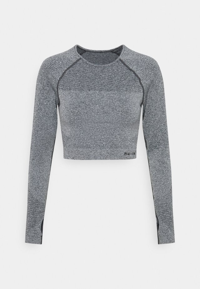 SEAMLESS TWO TONE LONG SLEEVE CROPPED - Long sleeved top - grey marl