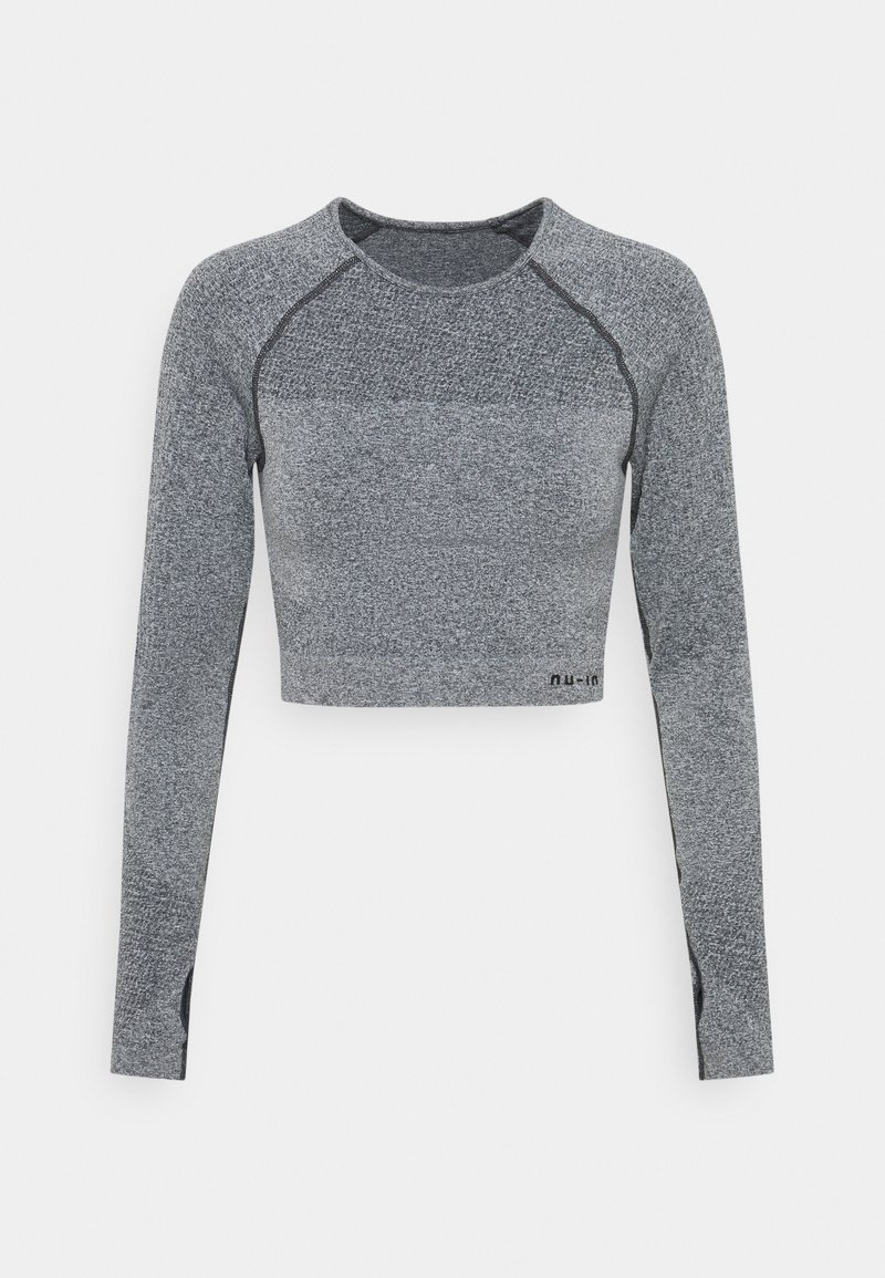 NU-IN - SEAMLESS TWO TONE LONG SLEEVE CROPPED - Long sleeved top - grey marl