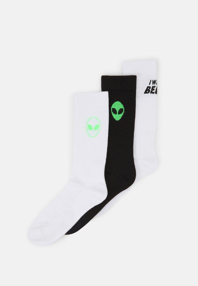 YOURTURN - ALIEN UFO 3 PACK - Socks - white/black/neon green