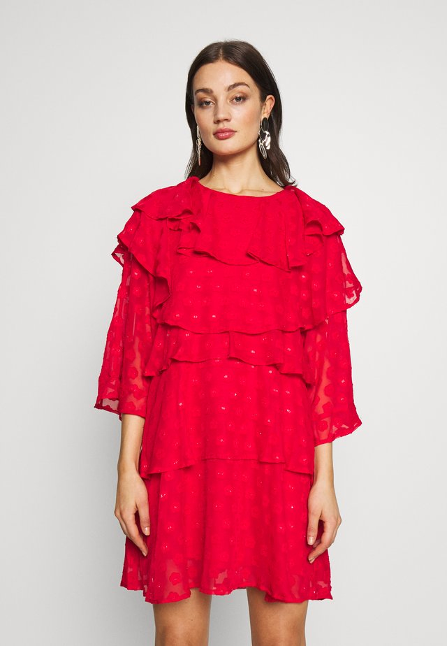 READY TIERED MINI DRESS - Cocktailjurk - red