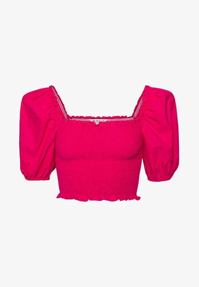 POPLIN PUFF SLEEVE SHIRRED - Basic T-shirt - pink