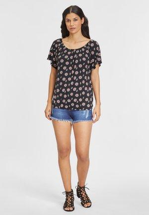 T-shirt print - schwarz-bedruckt + altrosa