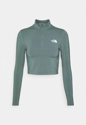 CROP ZIP THROUGH - Maglietta a manica lunga - balsam green
