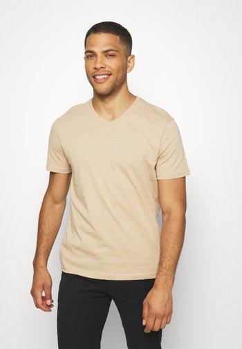 3 PACK - T-shirt - bas - khaki/tan/dark blue