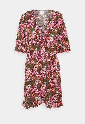 VILANA DITSY FLOUNCE WRAP DRESS - Day dress - dark olive
