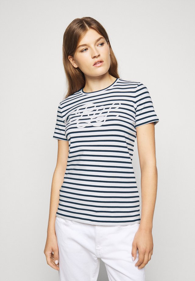 REFINED  - T-shirt imprimé - white/lauren navy