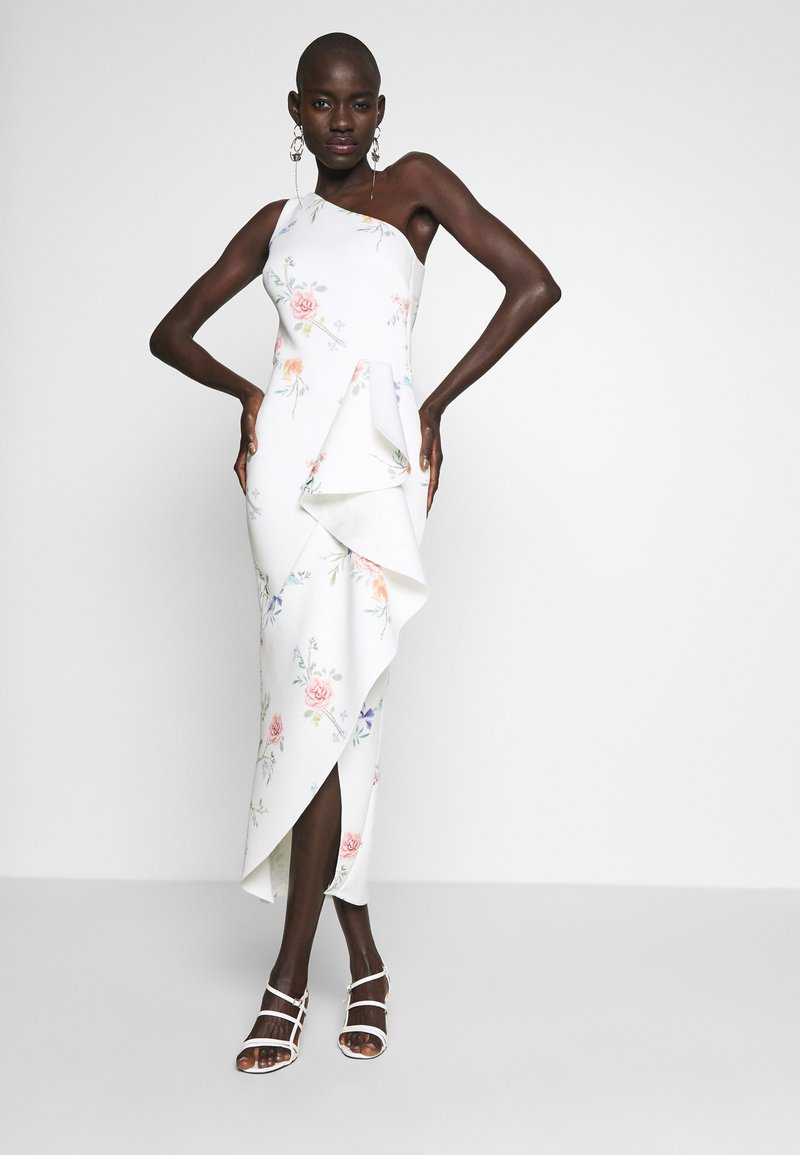 True Violet Tall - ONE SHOULDER FRILL SPLIT MIDAXI DRESS - Vestido de cóctel - white