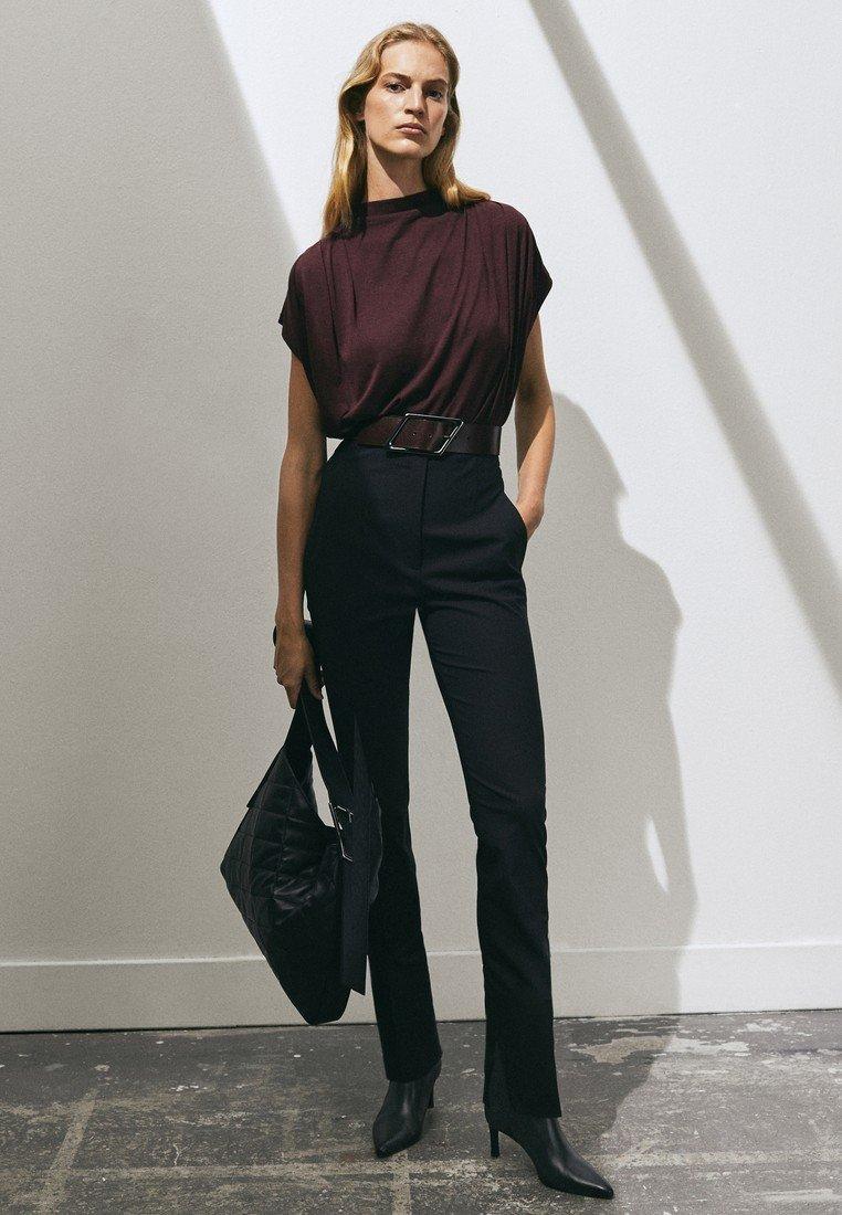 Massimo Dutti - SLIM-FITMIT HOHEM BUND LIMITED EDITION  - Trousers - black