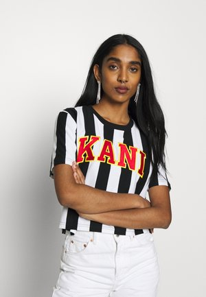 COLLEGE STRIPE TEE - Print T-shirt - black/white