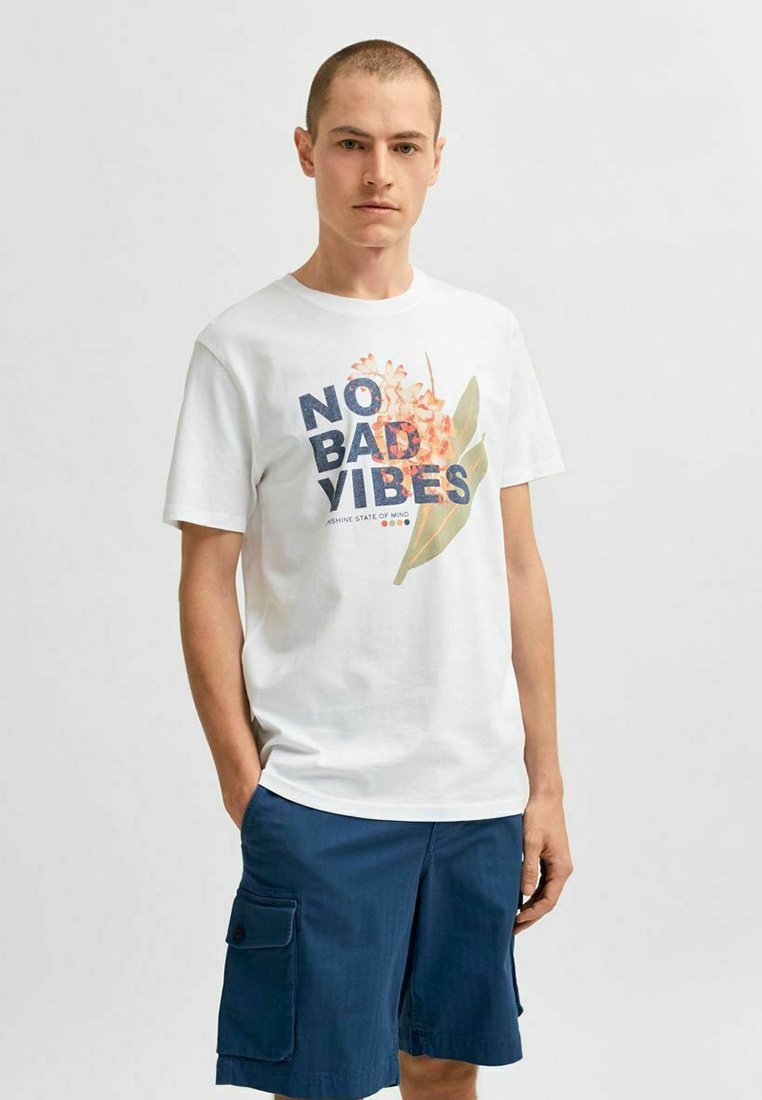 Selected Homme - STATEMENT - Print T-shirt - bright white