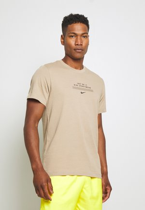 TEE - Print T-shirt - khaki/black