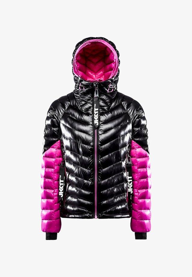 RISING RACER - Gewatteerde jas - black/flame pink