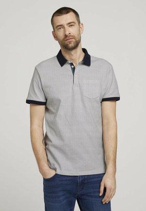 Poloshirts - white navy wave design
