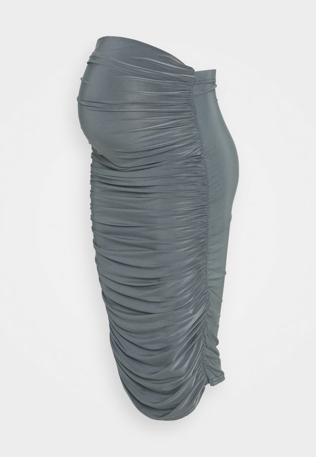 SLINKY RUCHED SIDE SKIRT - Pencil skirt - grey