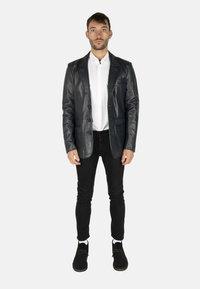 LEATHER HYPE - HYPE BLAZER - Leather jacket - royal blue - 1
