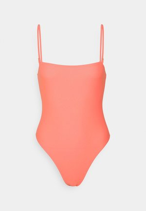 STRAIGHT NECK STRAPPY SWIMSUIT - Swimsuit - coral