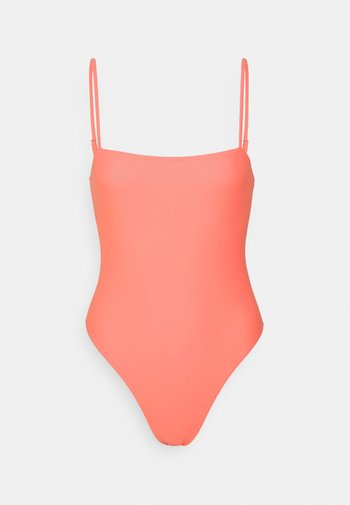 STRAIGHT NECK STRAPPY SWIMSUIT - Badedrakt - coral