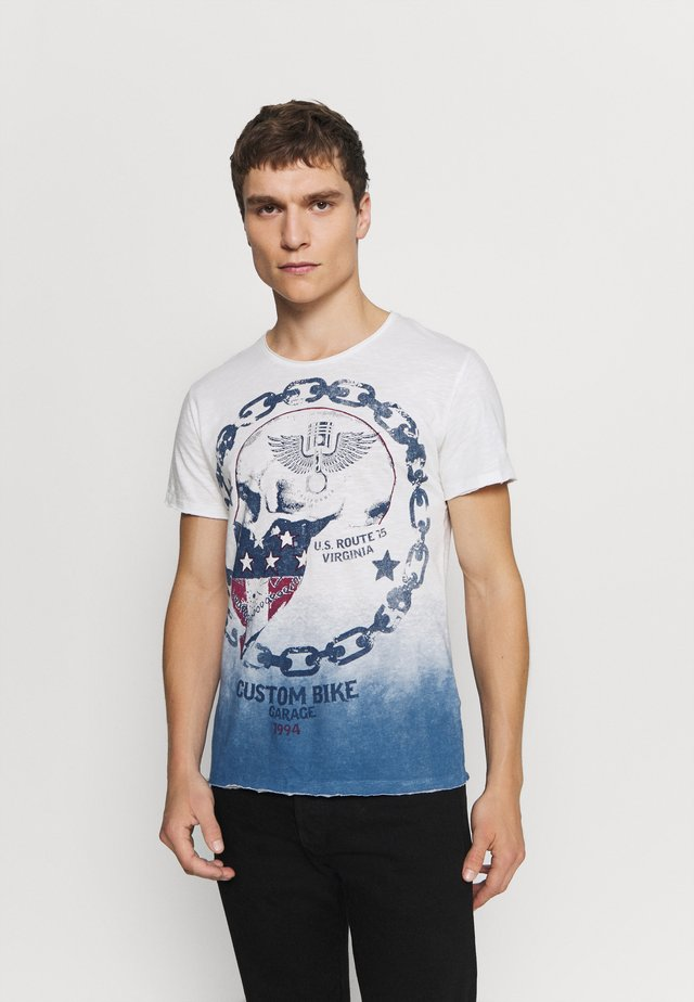 LUCKY ROUND - T-shirt imprimé - off-white/blue