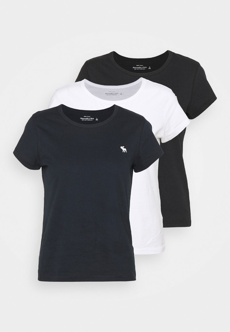 Abercrombie & Fitch - CREW 3 PACK - Basic T-shirt - black/white/navy