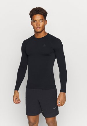PERFORMANCE WARM ECO CREW NECK - Caraco - black/new odlo graphite grey