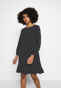 Wallis Petite - SPOT FLIPPY HEM SHIFT DRESS - Day dress - black - 0