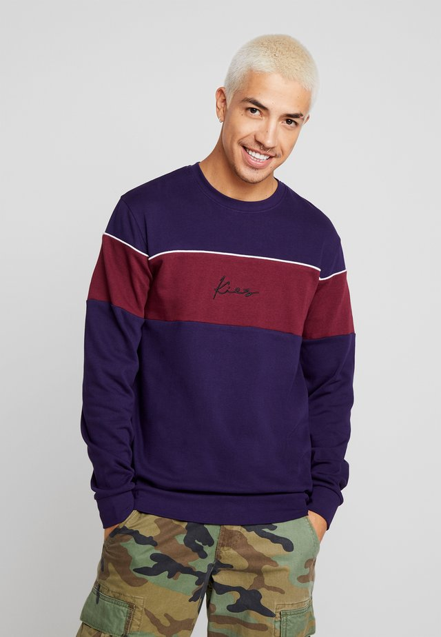 CUT SEW CHEST BLOCK CREW NECK - Sweatshirt - purple
