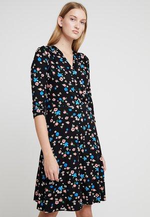 FLORAL WRAP DRESS - Kjole - black