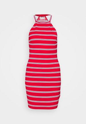 STRIPED RACER BODYCON DRESS - Jersey dress - deep crimson