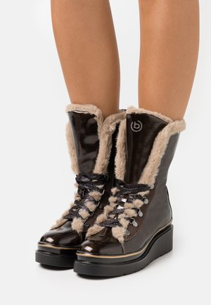 MARCELLA - Wedge Ankle Boots - dark brown/taupe