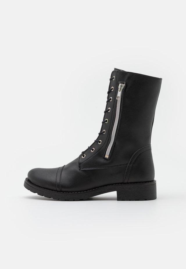 ZAIRA VEGAN - Šněrovací vysoké boty - black