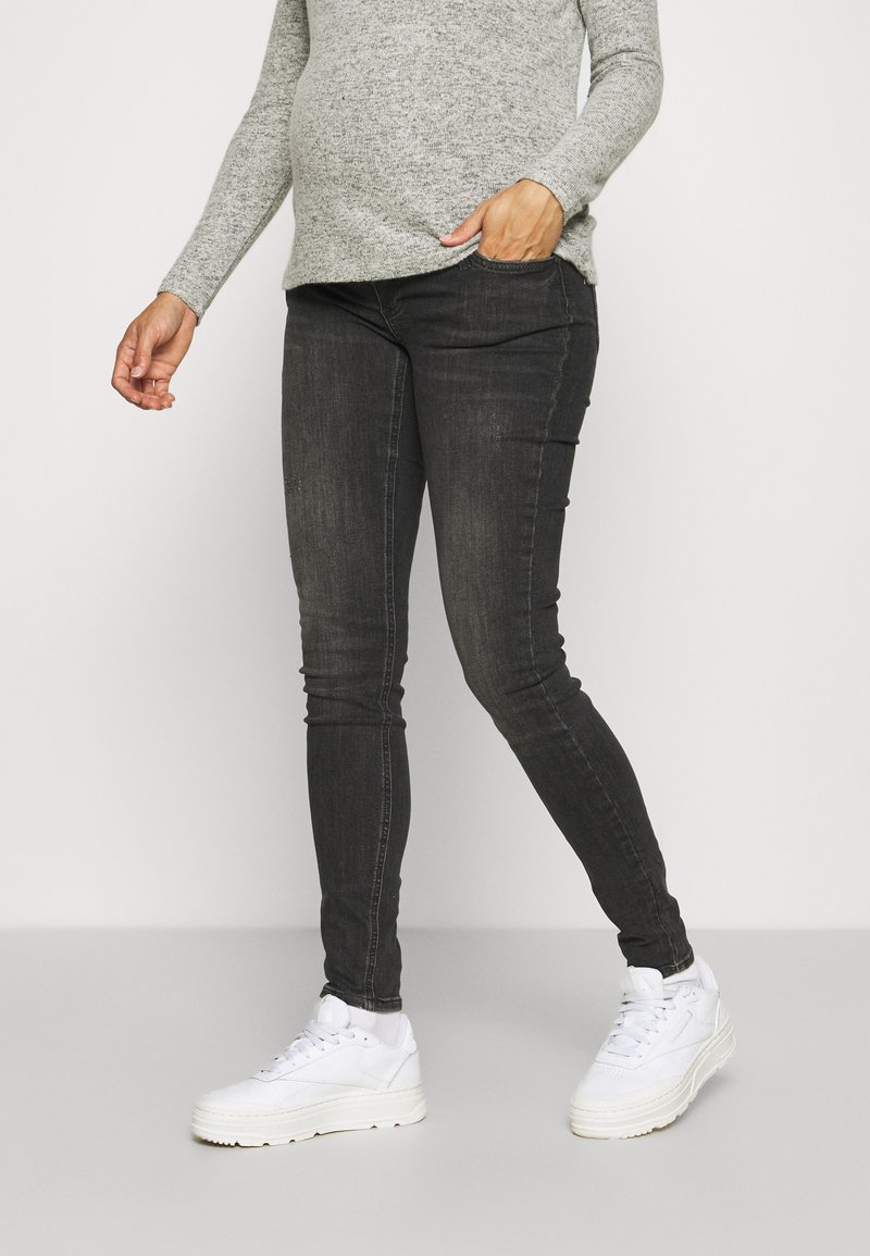 MAMALICIOUS - MLSAVANNA ORGANIC - Jeans Skinny Fit - dark grey denim