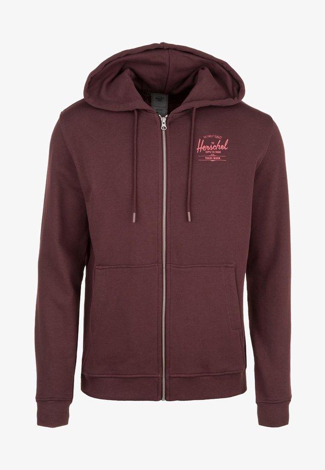 veste en sweat zippée - plum/mineral red