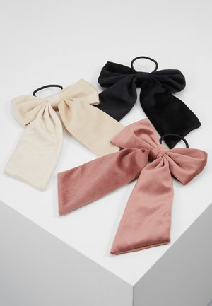 ONLADELKA BOW ELASTIC 3 PACK - Hair styling accessory - black/creme/blush
