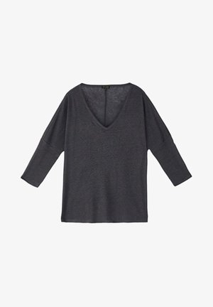 MIT V-AUSSCHNITT - Long sleeved top - blue-black