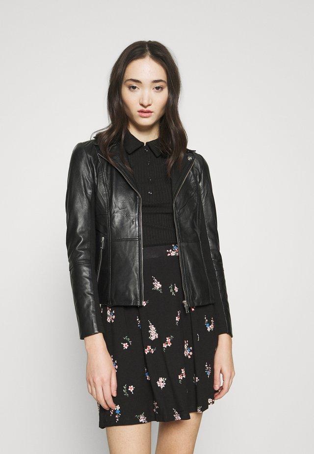 YASCOLLY JACKET - Leather jacket - black