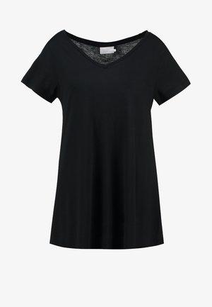 ANNA V NECK - Basic T-shirt - black deep