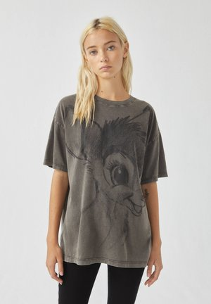 T-shirts print - mottled dark grey