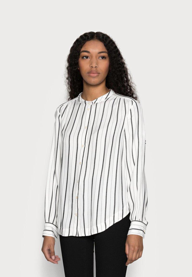 GAP Petite - SHIRRED - Button-down blouse - black white stripe