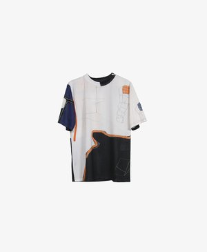 Print T-shirt - black/white/orange