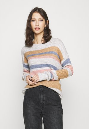 JDYBELLANORA STRIPE - Sweter - light grey melange/pink