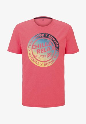 TEE WITH COLOR PRINT - T-shirt med print - neon peach