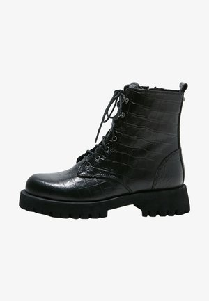 Lace-up ankle boots - black croco obl