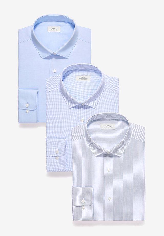 STRIPE AND TEXTURED SHIRTS 3 PACK- REGULAR FIT SINGLE CUFF - Shirt - blue