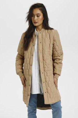 SHALLY QUILTED COAT - Wintermantel - beige, dark brown