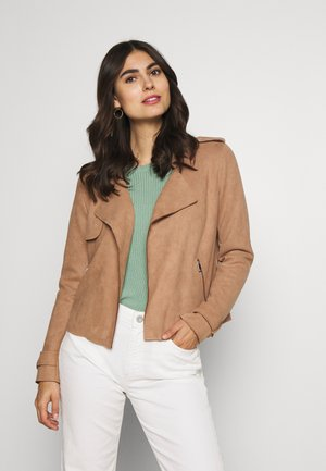 Faux leather jacket - woodsmoke